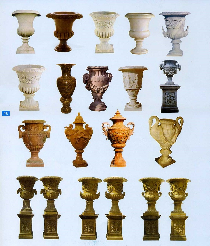 outdoor stone carved flowerpots