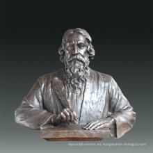 Estatua de gran figura poeta Tagore escultura de bronce Tpls-086