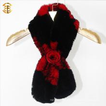 Top-Qualität Winter Pelz Schal Gestrickte Pelz Schal mit Pelz Blume Knoten