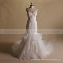 Luxurious Srapless Sweet Heart Mermaid Bling Beads Bottom ORG Wedding Dress Chapel Train