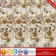 Azulejos de cerámica finos esmaltados rústicos del arte de la flor del oro 1800x900m m