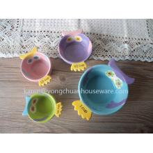 The Owl Set of 4 Measuring Cup-Céramique peint à la main