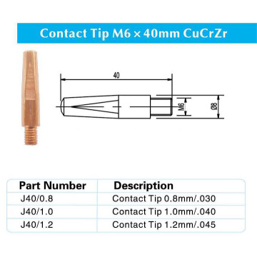 Contact Tip M6x40MM CuCrZr para Panasonic