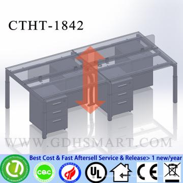 CTHT-1842 винт высота регулируемая 2 человек офисный стол с PVC запечатывания готовой столешницы
