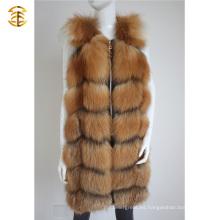 Chaqueta de piel de mujer de manga larga de abrigo de piel sin mangas de Fox mujeres