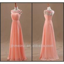 Una línea de cuello sin mangas rebordear gasa palabra de longitud vestidos de color melocotón vestido de noche mujeres elegantes F10