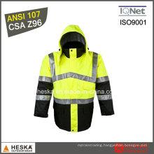 High Visibility Mens Parka Pass ANSI/Isea 107-2010 Class3 Safety Parka
