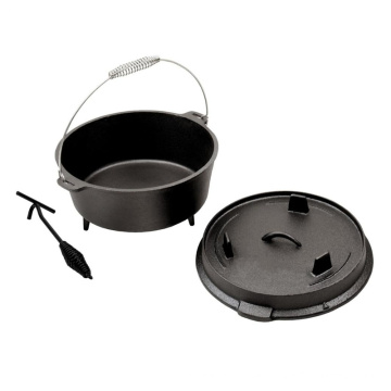 Cast Iron Dutch Oven with Three Legs on Lid