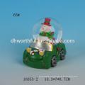 2016 new christmas snow globe,decorative resin car snow globe with santa figurine