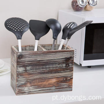 2 Compartment Torched Wood Kitchen Cooking Utensil Holder Organizer Box