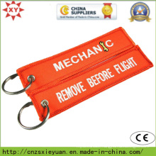 Custom Logo Embroidery Patch Keychain on Clothes