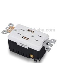 UL-gelistete 15-A-AC-Steckdose mit 2 integrierten USB-Ladeanschlüssen