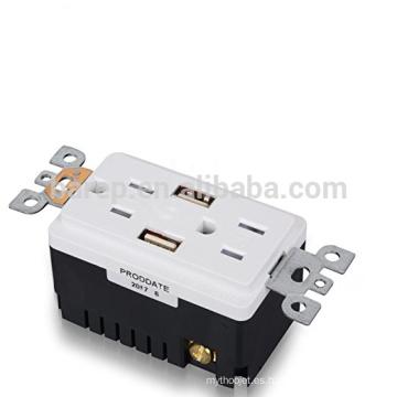 Receptáculo de toma de CA de 15 amperios con certificación UL y 2 puertos de carga USB incorporados