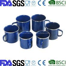 OEM Enamel Mug Cup Coffee Mug Enamelware with Stainless Steel Rim