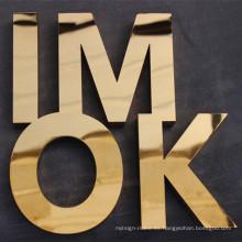Letra de titanio de oro acabado personalizado pulido