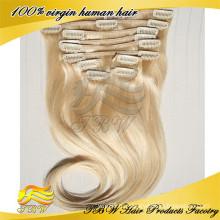 Перуанский Девы волос клип в человеческих волос блондинка волос для мода женщина