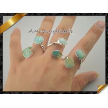 Кольцо друзи Кольцо Druzy Кольцо с серебряным покрытием Обклеенные двойные кольца Друзи Кольцо с драгоценными камнями Druzy Jewelry (FR003)
