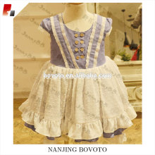 Short sleeve puple dress ruffle party clothing