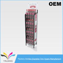 Plegable diseño de suelo Metal Beverage Display Rack para botellas dispensador