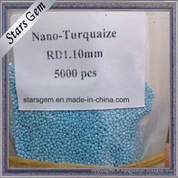 La machine en vrac ronde de prix de gros a coupé les pierres nano-turquoise pour la fabrication de bijoux