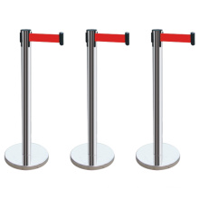 Outdoor cheap expandable safety retractable barrier pole Stainless Steel red belt