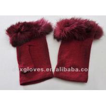 red half finger cashmere gloves
