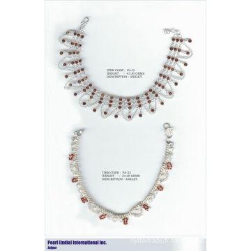 Bracelets à chevilles en argent sterling 925 brossé avec pierres semi-précieuses Grossiste Bijoux en argent indien