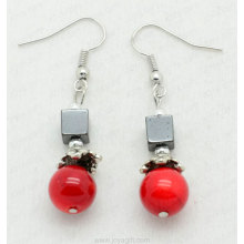 Red Coral Square Beads hematite earring