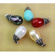 Bijoux pendentif en perles naturelles multi-couleurs