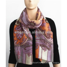 Classic Floral Print Blended Scarf