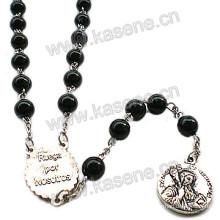 Чёрный розарий из бисера Крестическое ожерелье с центральными частями