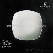 Plato de cerámica blanco cuadrado personalizado de 8 pulgadas P040