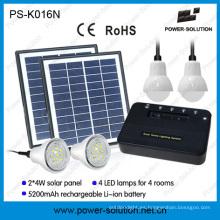Sistema de iluminación casero Solar portátil con 4 focos y USB teléfono Solar Cahrger