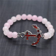 Rose Quartz 8MM Round Beads Stretch Gemstone Bracelet with Diamante anchor alloy Piece