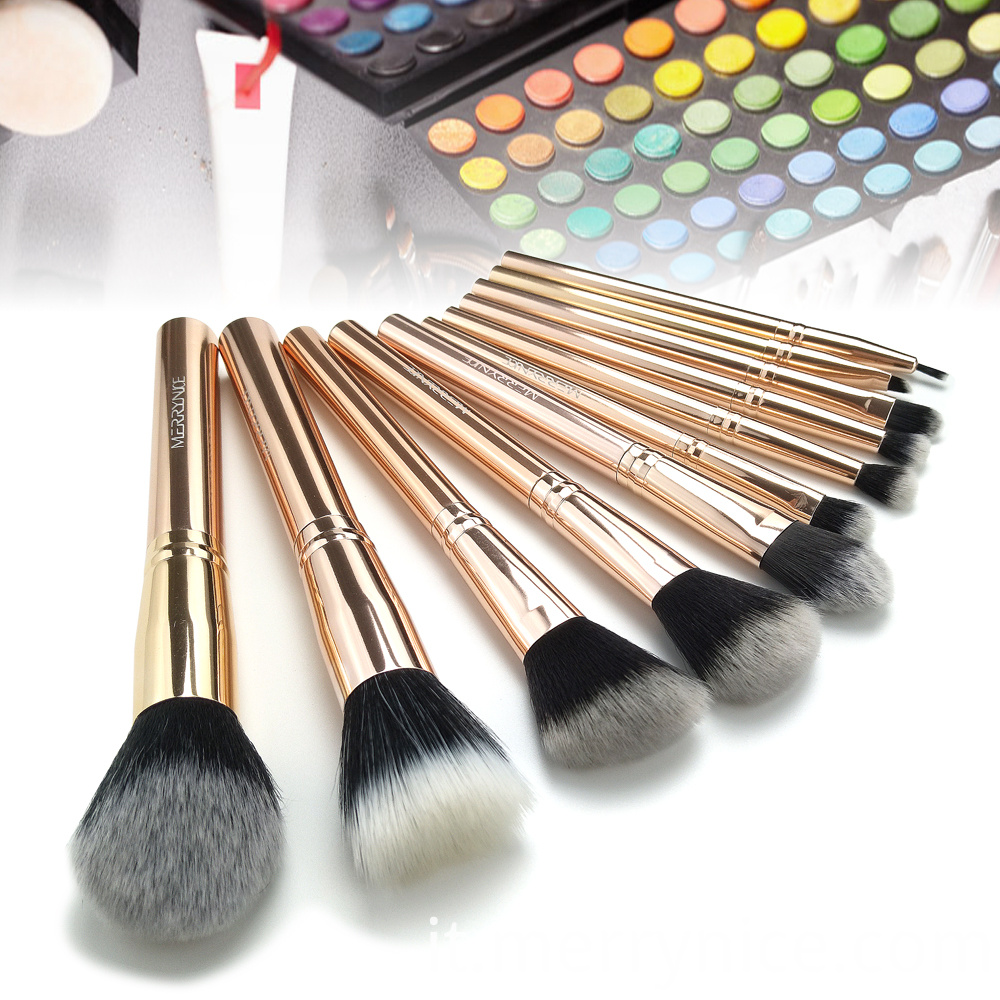 Rose Gold Metal Makeup Brush Set