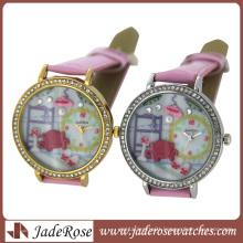 New Design Ladies Watch Luxury Diamond with Leather Strap