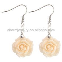 Pendientes de flor rosa de la manera Pendiente de flor blanca coralina FE-002 de la flor de Rose