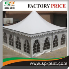 span 8m x 8m aluminum frame pagoda party tent in white with clear window