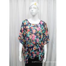 Mulheres moda flor impressa poliéster seda chiffon t-shirt (yky2224)
