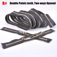 Latón 8 # cremallera cadena larga, de dos vías, doble puntos de dientes