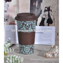 Tasse à café 12 oz avec couvercle et manchon en silicone
