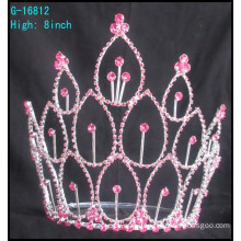 Hot selling factory directly hair accessories Pink rhinestones bridal tiara