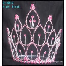 Hot venda fábrica diretamente acessórios de cabelo Pink rhinestones tiara de noiva