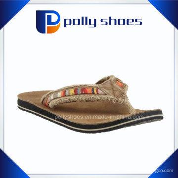 Tecido superior confortável marrom homens baratos flip flops (40-45)