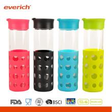 2016 Wholesale 550ml Borosilicate fruit juice glass bottle With Silicone Sleeve
