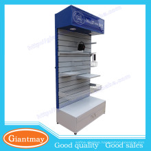 tools exhibition metal slatwall display rack with lockable base