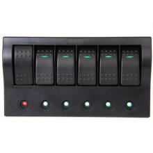 Marine Boat RV 6 Gang Waterproof Rocker Switch Panel W/LED Indicator & Breakers