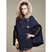 Мода batwing женские шерсть пончо куртка (50031-1)