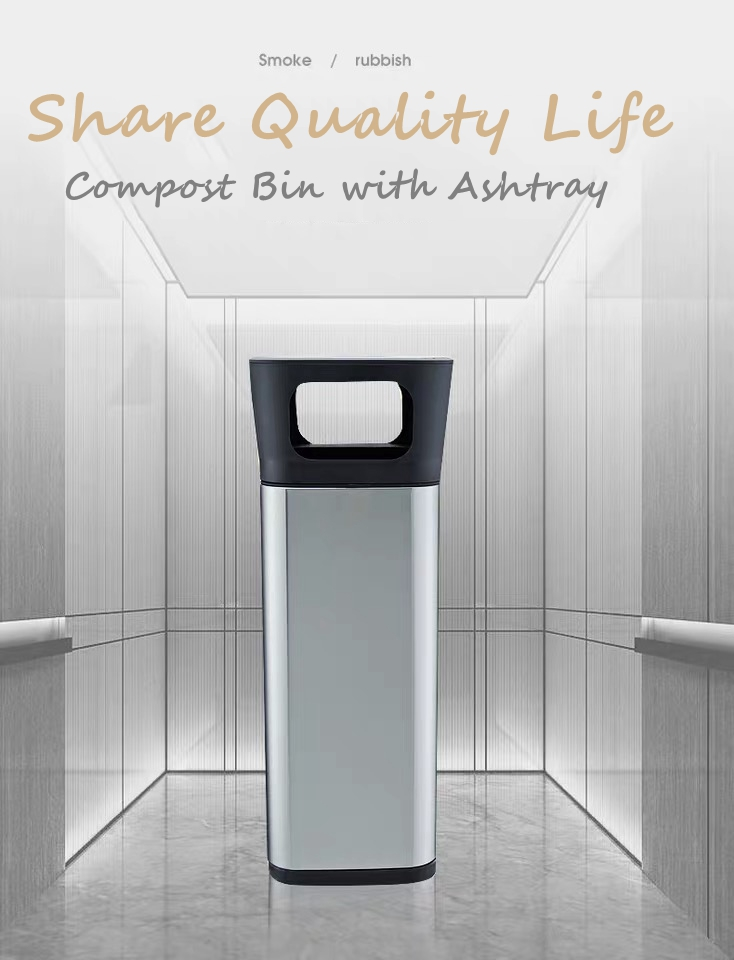 Square Stainless Steel Trash Bin