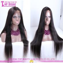 Высокое Качество 100% Натуральный Человеческий Волос Очень Длинные Черные Прямые Волосы Парик